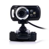 Wholesale Usb Web Cams - Plastic 3 LED Lights USB 1200 Megapixel HD Webcam Web Cam Camera & Microphone Mic Laptop LCD for Windows XP 7 8 Vista 32bit