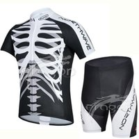 Wholesale Cycling Bib Short Pants Padded - So Cool Skull Style Roupa Ciclismo Cycling Jerseys  Breathable Cycling bicycle clothes Quick-Dry GEL Pad Bike Bib Pants Shorts