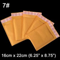 Wholesale-16 x 22 cm (6.25 x 8.75 pollici) di Bubble Kraft Paper Bag imbottito Mailer Borse Air Mail Buste 80 pc / lotto