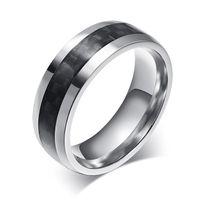 Wholesale Carbon Fiber Ring Wedding Band - ORSA Hot-sale Punk Style Ring of Male Gift New Fashion Carbon Fiber Titanium Steel Men's Ring OTR88
