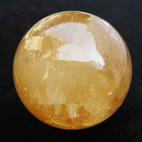 90MM + SAND Natural Citrine Calcite Quartz Crystal Sphere Ball Healing Gemstone