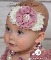 elástico del rhinestone del pelo al por mayor-Baby Shabby Flower diademas con perla Rhinestone elásticos Hairbands niños accesorios para el cabello Toddler Chiffon Flower Hair band 15colors