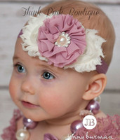 Wholesale Shabby Pearl Headbands - Baby Shabby Flower Headbands With Pearl Rhinestone Elastic Hairbands Children Hair Accessories Toddler Chiffon Flower Hair band 15colors