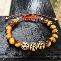 Wholesale Pave Beads 8mm - 2017 New Men Tiger Eye Bracelet 8mm and 10mm Micro Pave CZ Stone Black Beads Braided Bracelet Handmade Friendship Charm Mens Jewelry