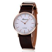 Wholesale Tan Belt For Women - geneva watches for men 2015 new fashion luxury wristwatches mens watches for women The new Geneva 2015 Geneva simple scale thin belt watches