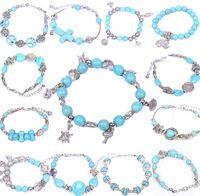 Wholesale New Sideway Crosses - NEW Turquoise Sideway elephant peace Cross Stretch Bracelet Bead Bangle Wristband many style CC185