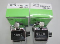 Wholesale hand tally manual counters - silver Hand Tally Counter metal counter 4 digit Manual counters Pressing the manual counter People Counting with retail box