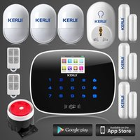 Wholesale gsm wireless smart alarm - LS111- KERUI wireless wired andorid ios app remote control anti-pet open door remind gsm home villadom alarm system+smart plug