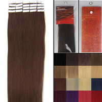 Wholesale 16 quot quot Woman Beauty Skin Weft Hair Extension silky straight weaving Tape hair Natural hair medium brown pieces pack