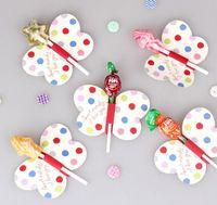 arı şekerleme toptan satış-Toptan Satış - Toptan-50pcs / Lot Arı / Kelebek / Baskılı Lolipop Dekoratif Kart Candy Stick Dekoratif Kart