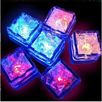 Wholesale Ice Block Lights - Christmas decoration Flash Ice Cube block light Water-Actived Flash Led Lamp Put Into Water Drink Flash Automatically for Party Wedding bars