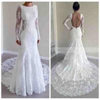 Wholesale Slim Wedding Dress Full Sleeve - Modest Royal Full Lace Wedding Dresses Mermaid Backless Court Trian White Beach Bridal Gowns Vestido De Noiva Custom Slim Long Sleeves