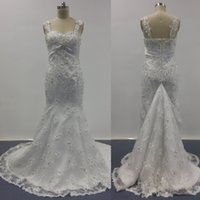 Wholesale Cheap Wedding Dresses Sweetheart Neckline - 2016 Full Lace Wedding Dresses Cheap Mermaid Sweetheart Neckline With Removable Straps Court Train with Covered Buttons and Brooch