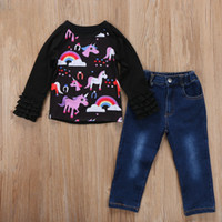Wholesale Tops Jeans For Girls - Girls Outfits 2017 Fall Unicorn Print Ruffle long Sleeves Tee shirt Top and Jeans Clothing Sets for Girls Boutique Children Clothes
