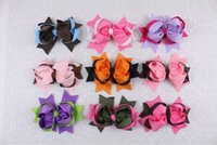 Wholesale Two Toned Baby Hair Bows - Wholesale 9pcs 5inches Baby Girl two tone mixed Ribbon Hair Bows Clip 2209-2217