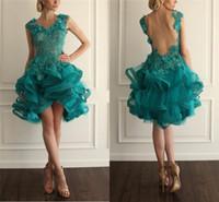 vestido de pavão verde azul venda por atacado-Pavão Verde Homecoming Prom Vestidos Lace Applique Beads vestido de Baile Curto Vestido de Festa Backless Drapeado Organza Cocktail Dresses