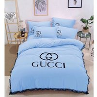 Wholesale Lace Cotton Bedding Set - Simple white big letters four sets of pure color lace washed cotton bubble yarn bedding 9 color optional