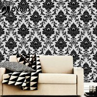 Wholesale Black White Damask Paper - Wholesale- European Style Black and White Damask Textured Vinyl PVC Wallpaper For Bedroom or Living room Wall Paper Roll
