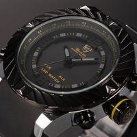 Wholesale Swirl Watch - Brand New Shark Bezel Swirl Design Men Wristwatch Sport Relogio Digital 3ATM Waterproof Wrap Silicone Band Casual Wrist Fashion Watch  SH168