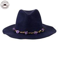 Wholesale Headband Navy - Wholesale-Ulgen Designed Bohemian fedoras with flower headband navy blue wool fedoras hat for wome's winter fedora hat [HUL183g]