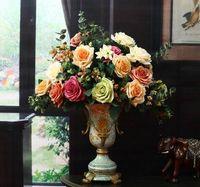 Wholesale Dried Flower Vases - Europeanism artificial Canvas colour rose flower Decorative Flowers 49cm length with six big flowers good quality vases artificial flowe