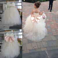 Wholesale Rhinestone Bridesmaid Sash - 2017 Real Image Ball Gown Flower Girls Dresses For Weddings Crystal Sashes Pink Bow Tulle Floor Length Spaghetti Ivory Kids Bridesmaid Dress