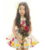 Wholesale Dolls Tutus - Summer new sweet Girls princess dress chidlren doll collar flowers printed vest dress kids cotton holiday dress girls dresses A6366