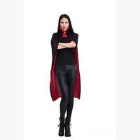 vampire capes toptan satış-Yeni Cadılar Bayramı Vampir Siyah Kırmızı Pelerin Unisex Yetişkin Çocuk Yaka Pelerin Parti Kulübü Karnaval Kostüm
