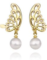 Wholesale Paris Earings - 2 paris two color butterfly pearl lady's earings (88) fhjht
