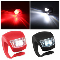 Wholesale Silicone Led Rear Light - Silicone Bike Bicycle Cycling Head Front Rear Wheel LED Flash Bicycle Light Lamp black red include the battery Free Shipping