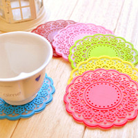 Wholesale High quality Translucent openwork lace coasters Nice Insulation coasters cute Cup mat TOP49