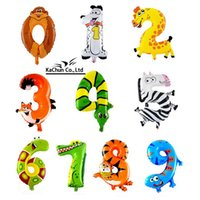 Vente en gros-Livraison gratuite 1pc 16 pouces Animal Number Balloon Air Foil Mylar Balloon Happy Birthday Party gift
