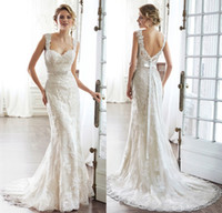 Wholesale Dramatic Train Wedding Dress - 2015 Romantic Illusion Lace Wedding Dress Sweetheart With Dramatic V-back Streamlined Sheath Court Train Bridal Gowns
