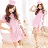 Wholesale Nurses Sexy Uniform - The pink costumes sexy nurse with costumes Cosplay uniform temptation maid outfit 167