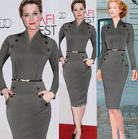 uzun kollu elbiseli iki renk toptan satış-V yaka Uzun Kollu Elbise Düğmeleri Dekorasyon Kalem Etek için Avrupa tarzı kadın giyim Moda Çalışma Elbiseler için Womens Iki Renk