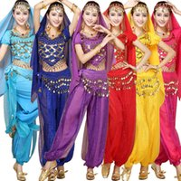 Wholesale Bollywood Dresses - 4pcs Sets India Halloween Egypt Belly Dance Costumes Bollywood Costumes Indian Dress Bellydance Dress Womens Belly Dancing
