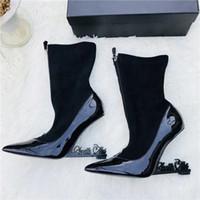 botas de charol negro señaló al por mayor-Zapatos de mujer de charol negro Bombas únicas Appelle Mary Jane Shoes Zapatos de boda de tobillo con correa en el dedo del pie en punta Botas de tobillo original