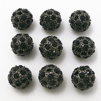 20PCS 10MM / 12MM Black Metal Gun Coloré Pavé Pavé Crystal Disco Ball Loose Strass Spacer Shamballa Bead Findings Fashion Jewelry D510