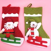 Wholesale Three Dimensional Christmas Stockings - Christmas cute socks Three-dimensional Santa Claus snowman bag cloth art Christmas decorations DIY Party Christmas high quality wholesale