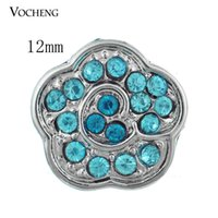 Accessoires Vocheng Nosa 12mm Interchangeable Bijoux Argent Plaqué Petits Boutons Snap Inlaid Blue Crystal Snap Charms (Vn-363)