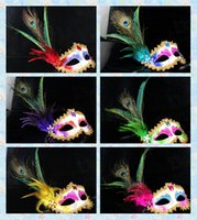 mascaras de pavo real sexy al por mayor-Lady Peafowl Rhinestone Flor Mascarada veneciana Mujeres Sexy Faisán Peacock Feather Mask Media Máscaras Parte 100 unids / lote