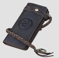Wholesale Square Rope - Free shipping Handmade Crazy Horse Leather wallet Natural Cowhide Waxed Vintage Leather Purse for men with woven rope brown oiled long old