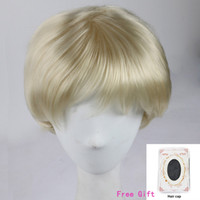 Wholesale Blonde Men Wigs - Blonde Color Short Straight Wig Africa American Synthetic Hair Full Wigs New Stylish Simulation Human Hair Wigs With Wig Cap for Men Women