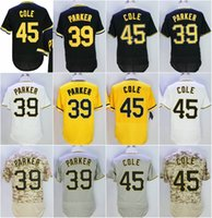Wholesale Flex Sales - Hot sale Men's Pittsburgh #39 Dave Parker #45 Gerrit Cole Baseball Jerseys White Black Grey Yellow Camo Flex Base Cool Base Throwback Jersey