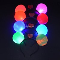 Wholesale Masquerade Hair Accessories - Flashing Mouse Ear Headband Light Up LED Party Masquerade Multi Colors Fun Decoration Led Rave Hair Accessories Toy