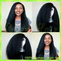 Wholesale natural yaki body wave wig - Unprocessed Malaysian Kinky Straight Full Lace Wig 130% Density Glueless Coarse Yaki Full Lace Human Hair Wigs For Black Women