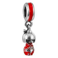 boneca vermelha japonesa venda por atacado-Boneca japonesa Esmalte Vermelho 100% 925 Sterling Silver Beads Fit Pandora Encantos Pulseira Autêntica DIY Moda Jóias