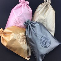 Wholesale Ethnic Lingerie - Chinese style Ethnic Large Travel Pouch Underwear Men and Women Bra Storage Case Embroidery Joyous Drawstring Satin Cloth Craft Bags