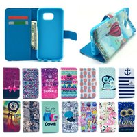 Wholesale Hybrid Leather Phone Case - For Galaxy S6 PU Leather+TPU Hybrid Flip Partysu Cute Phone Case Cover With Credit Card Slots Wallet Money Pocket Stand for Samsung G9200