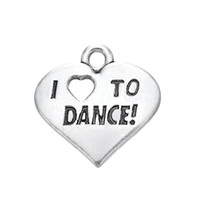 Wholesale Engrave Charms - Free shipping New Fashion Easy to diy 20Pcs Engraved Letter I Love To Dance Heart Charm Jewelry jewelry making fit for necklace or bracelet